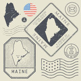 Retro vintage postage stamps set Maine, United States Stock Image