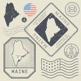 Retro vintage postage stamps set Maine, United States. Theme, vector illustration Stock Image