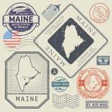 Retro vintage postage stamps set Maine, United States. Theme, vector illustration Stock Photography
