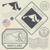 Retro vintage postage stamps set Maryland, United States Royalty Free Stock Images