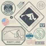 Retro vintage postage stamps set Maryland, United States Stock Photography