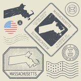 Retro vintage postage stamps set Massachusetts, United States Royalty Free Stock Images