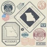 Retro vintage postage stamps set Missouri, United States Stock Photo