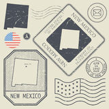 Retro vintage postage stamps set New Mexico, United States Stock Photography