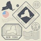 Retro vintage postage stamps set New York, United States Stock Photography