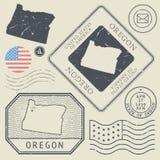 Retro vintage postage stamps set Oregon, United States Stock Image