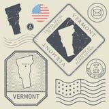 Retro vintage postage stamps set Vermont, United States Stock Photo