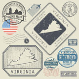 Retro vintage postage stamps set Virginia, United States Stock Photo