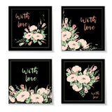 Retro vintage postcard, card or business card with flower bindweed. Hand drawing. Stock Photos