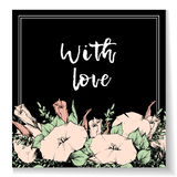 Retro vintage postcard, card or business card with flower bindweed. Hand drawing. Royalty Free Stock Photo