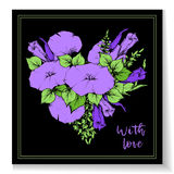 Retro vintage postcard, card or business card with flower bindweed. Hand drawing. Royalty Free Stock Photos
