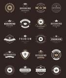 Retro Vintage Premium Quality Labels and Crowns. Set. Vector design elements, signs, logos, identity, labels, badges, stickers and stamps. Satisfaction stock illustration