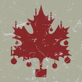 Retro-vintage red Christmas maple leaf card Stock Image