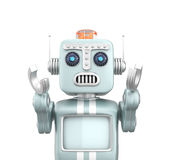 Retro vintage robot raising hands and looks sorrow.  Royalty Free Stock Photography