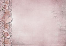 Retro vintage romantic background with roses and heart Royalty Free Stock Photo