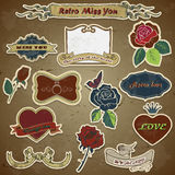 Retro vintage roses, love, heart on grunge Royalty Free Stock Images