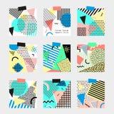 Retro vintage 80s or 90s fashion style. Memphis cards. Big set. Trendy geometric elements. Modern abstract design poster. Retro vintage 80s or 90s fashion style royalty free illustration