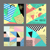 Retro vintage 80s or 90s fashion style. Memphis cards. Big set. Trendy geometric elements. Modern abstract design poster. Retro vintage 80s or 90s fashion style Royalty Free Stock Photos
