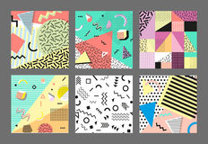 Retro vintage 80s or 90s fashion style. Memphis cards. Big set. Trendy geometric elements. Modern abstract design poster Stock Photo
