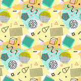 Retro vintage 80s or 90s fashion style. Memphis seamless pattern. Trendy geometric elements. Modern abstract design. Good for textile fabric. Vector Royalty Free Stock Photos
