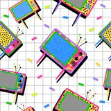 Retro vintage 80s tv seamless pattern background Stock Image