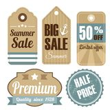 Retro vintage sale, quality labels, tags,  Stock Photography
