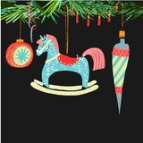 Retro vintage Scandinavian graphic lovely winter holiday new year collage pattern Christmas tree toys and rocking horse vector. Hand illustration. Perfect for vector illustration