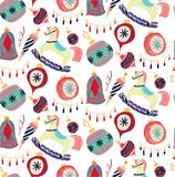 Retro vintage Scandinavian graphic lovely winter holiday new year collage pattern Christmas tree toys and rocking horse vector. Hand illustration. Perfect for royalty free illustration