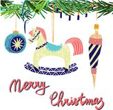 Retro vintage Scandinavian graphic lovely winter holiday new year collage pattern Christmas tree toys and rocking horse vector. Hand illustration. Perfect for stock illustration