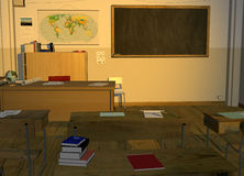 Retro Vintage School Classroom Illustration. Illustration of a retro vintage school classroom for education and students. A chalkboard is on the wall for YOUR Stock Photography