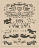 Retro vintage scroll and banner vector set stock illustration