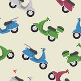 Retro vintage seamless vector scooter pattern. Flat illustration Royalty Free Stock Images