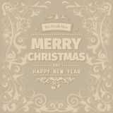 Retro vintage simple Merry Christmas  greeting card Royalty Free Stock Photos
