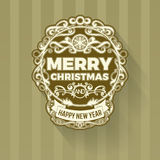 Retro vintage simple Merry Christmas  greeting green card Royalty Free Stock Photo