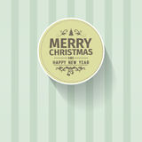 Retro vintage simple Merry Christmas vector greeting green card Stock Photo