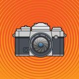 Retro vintage SLR photo camera. Flat photo camera icon Stock Photos