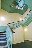 Retro vintage stair case. In turquoise color Royalty Free Stock Image