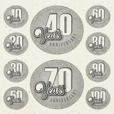 Retro Vintage style anniversary greeting card collection with calligraphic design. Stock Images