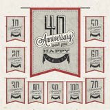 Retro Vintage style anniversary greeting card collection with calligraphic design. Template of anniversary, jubilee or birthday card. Hand Drawn calligraphic Royalty Free Stock Photography