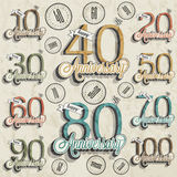 Retro Vintage style anniversary greeting card collection with calligraphic design. Royalty Free Stock Image