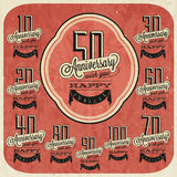 Retro Vintage style anniversary greeting card collection with calligraphic design. Stock Image