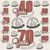 Retro Vintage style anniversary greeting card collection with calligraphic design. Template of anniversary, jubilee or birthday card. Hand lettering Royalty Free Stock Images