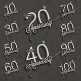 Retro Vintage style anniversary greeting card collection with calligraphic design. Template of anniversary, jubilee or birthday card. Hand lettering Stock Photos
