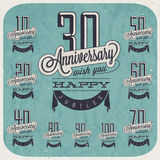 Retro Vintage style anniversary greeting collection in calligraphic design. Template of anniversary, jubilee or birthday card. Hand lettering calligraphic and Stock Photo