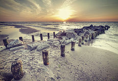 Retro vintage style beautiful sunset over Baltic Sea. Stock Photography