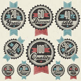 Retro vintage style big reductions signs collection and other promotion labels design. Stock Images