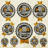 Retro vintage style big reductions signs collection and other promotion labels design. Stock Photography