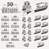 Retro Vintage style Birthday greeting card collection in calligraphic design. Vintage calligraphic and typographic style Happy Birthday hand lettering stock illustration