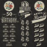 Retro Vintage style Birthday greeting card collection in calligraphic design. Royalty Free Stock Image