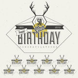 Retro Vintage style Birthday greeting card collection in calligraphic design. Stock Image